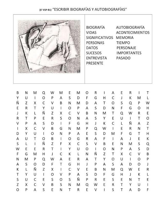 Sopa de letras biografías y autobiografías