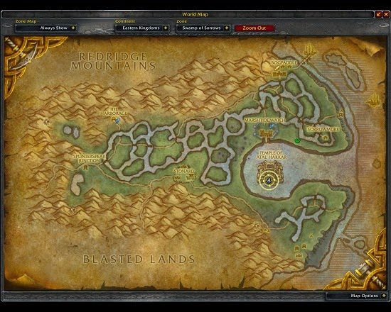 Yellow Circle marks the entrance to the Sunken Temple instance in World of Warcraft