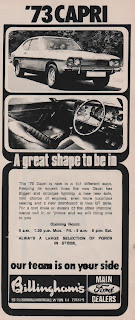 Vintage advertisement for the 1973 Ford Capri