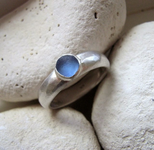blue sea glass ring seaglass glasswing jewellery