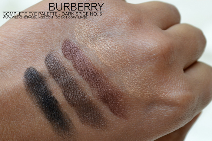 Burberry Vintage Gold Christmas Beauty Holiday 2012 Makeup Gifts Collection Complete Eyeshadow Palette Quads Indian Darker Skin Blog Swatches Dark Spice No 05