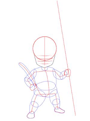 cara menggambar Goku kecil tahap 5