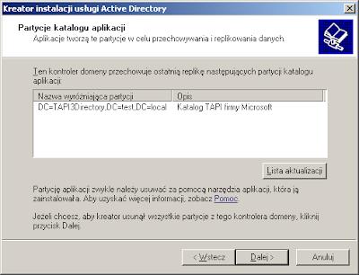 Informacja o partycji TAPI3Directory podczas dezautoryzacji kontrolera domeny