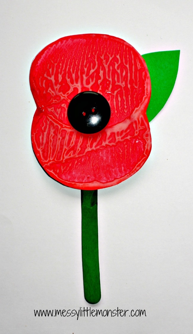 simple Remembrance Day poppy potato print craft for preschoolers upwards eyfs