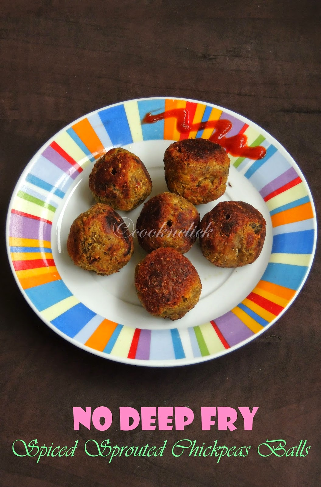 Healthy chickpeas balls, no deepfry Sprouted chickpeas balls