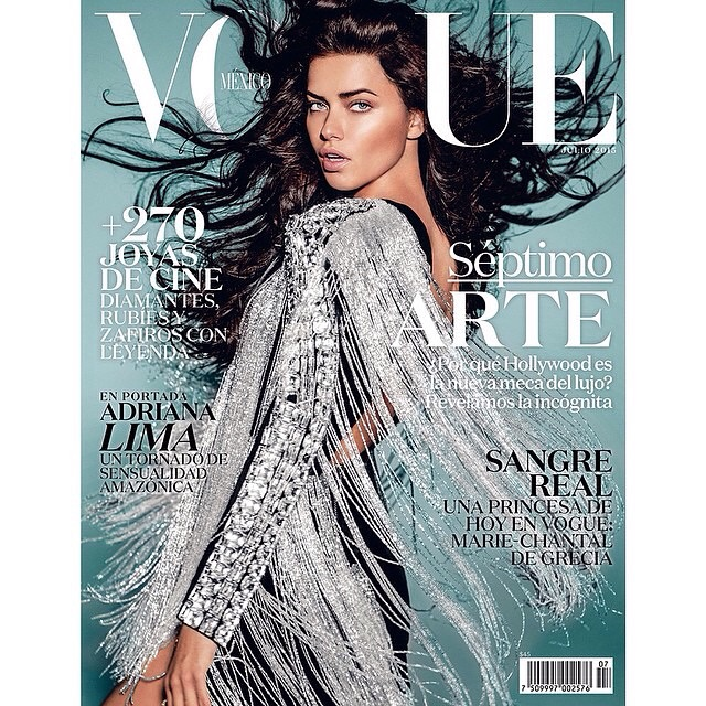 Adriana Lima in Balmain for the Vogue Mexico July 2015 Cover