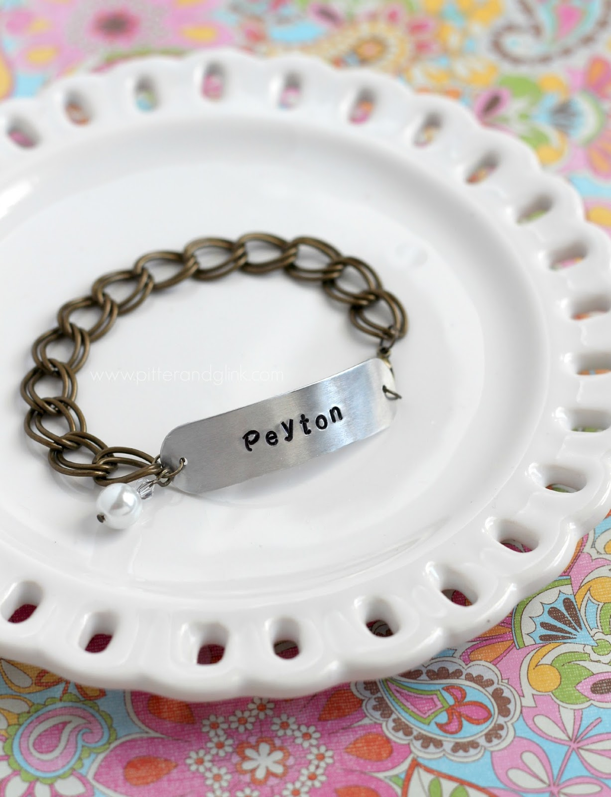 DIY Stamped Metal Bracelet--A personalized, inexpensive gift idea!  pitterandglink.com