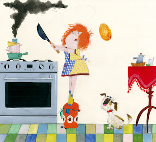 Illustration of a dog and a little girl as a cook flipping a pancake by Robert wAGT