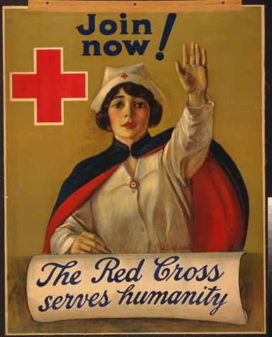 advertising, classic posters, free download, graphic design, retro prints, vintage, vintage posters, Join Now! The Red Cross Serves Humanity - Vintage Red Cross Poster