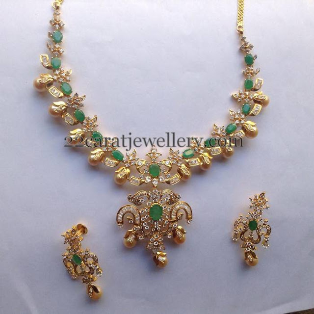 CZ Necklace with Gold Color Pearls