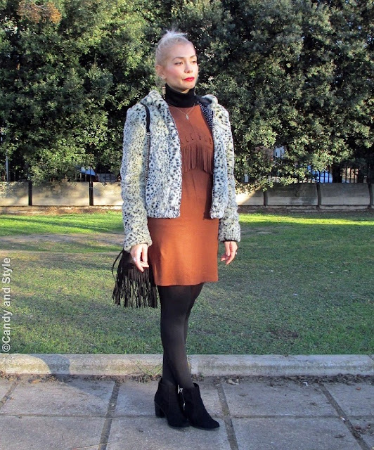LeopardFauxFur+SuedeFringedDress+FringedBag+AnkleBoots+RedLips+TopKnot - Lilli Candy and Style Fashion Blog