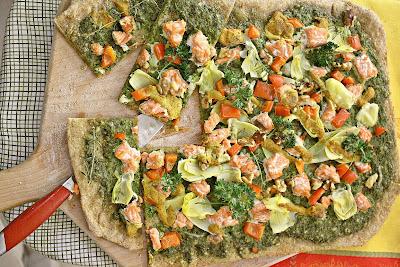 flatbread, seafood flatbread, salmon, salmon flatbread, seafood pizza
