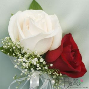 combine red white roses