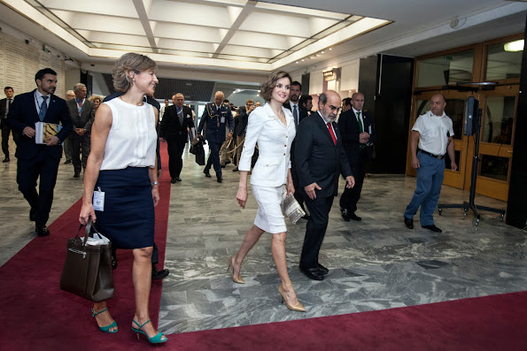 Spanish Minister of Food and Agriculture Isabel Garcia Tejerina, FAO Director-General Jose Graziano da Silva and Queen Letizia Of Spain arrive at the FAO Headquarters as she is named FAO Special Ambassador for Nutrition