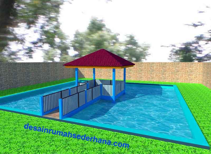 desain kolam dan bangunan joglo type rumah idaman type