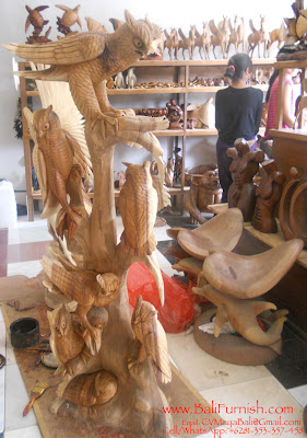 Wooden Owls Carvings from Bali