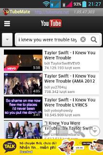 TubeMate tải video trên youtube tốc độ cao cho điện thoại Android