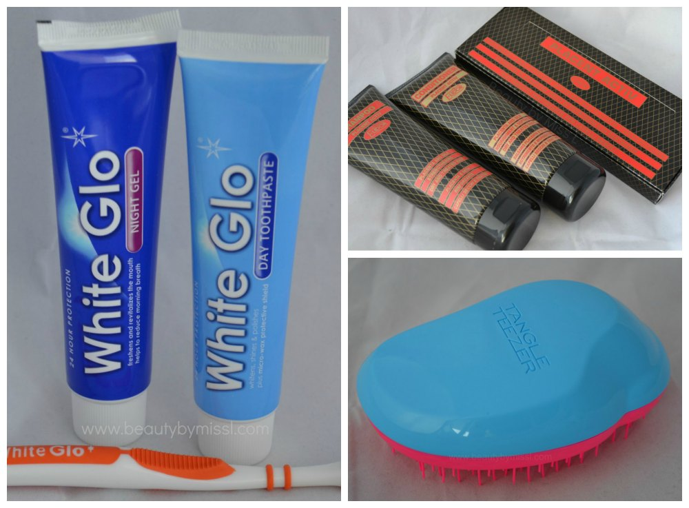 White Glo Day Night Toothpastes, Tangle Teezer, Placent Activ shampoo, conditioner, hair liquid