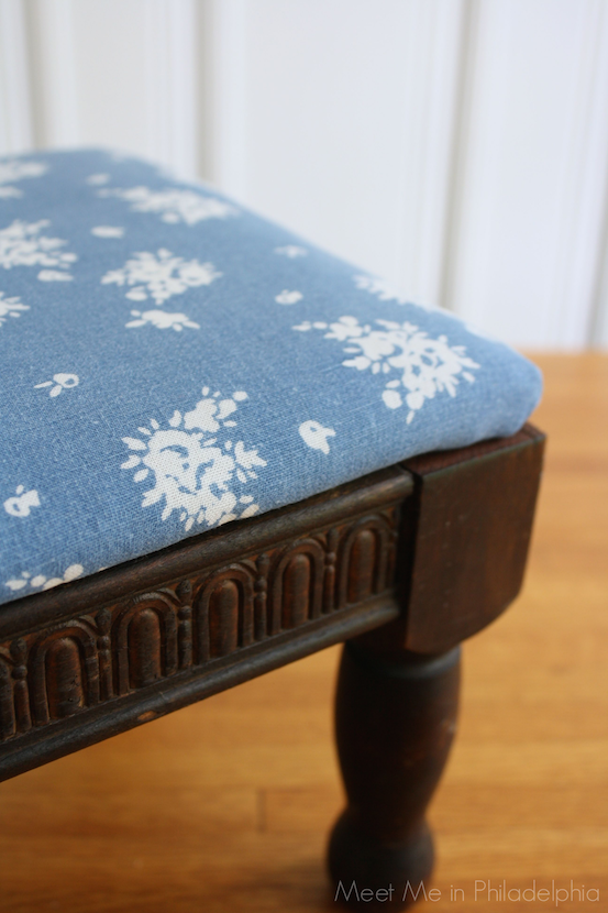 Footstool upholstered with JCrew top via Meet Me in Philadelphia