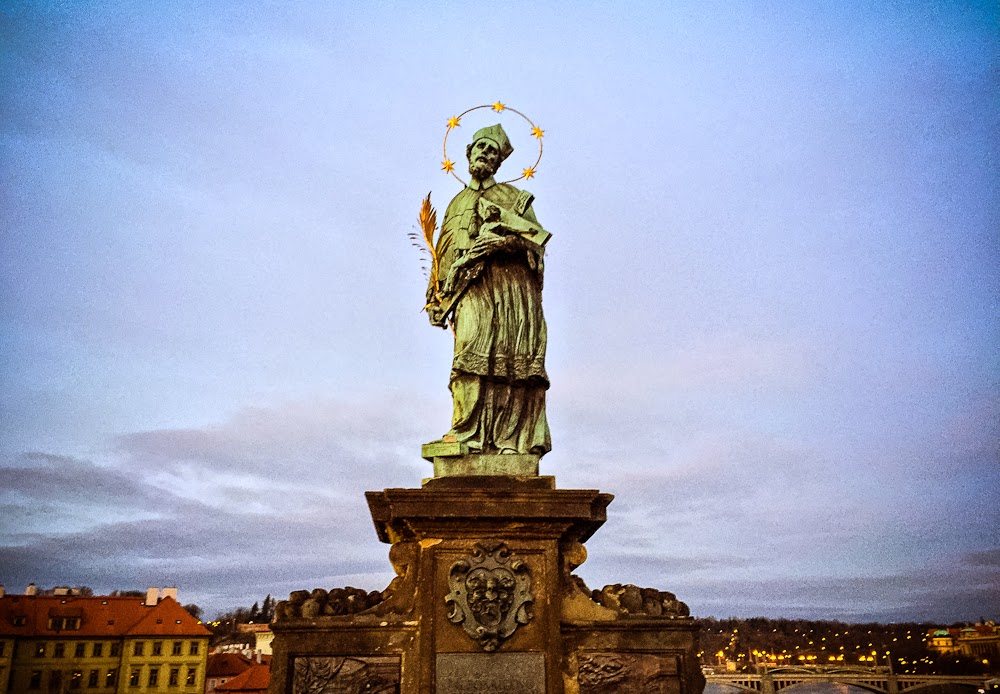 Statue along charles bridge