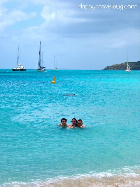 Swimming in the ocean in St Maarten