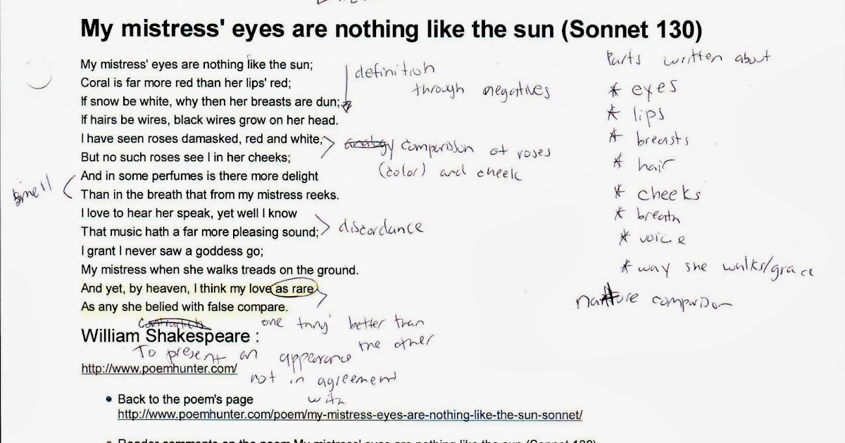an analysis of my mistress eyes are nothing like the sun
