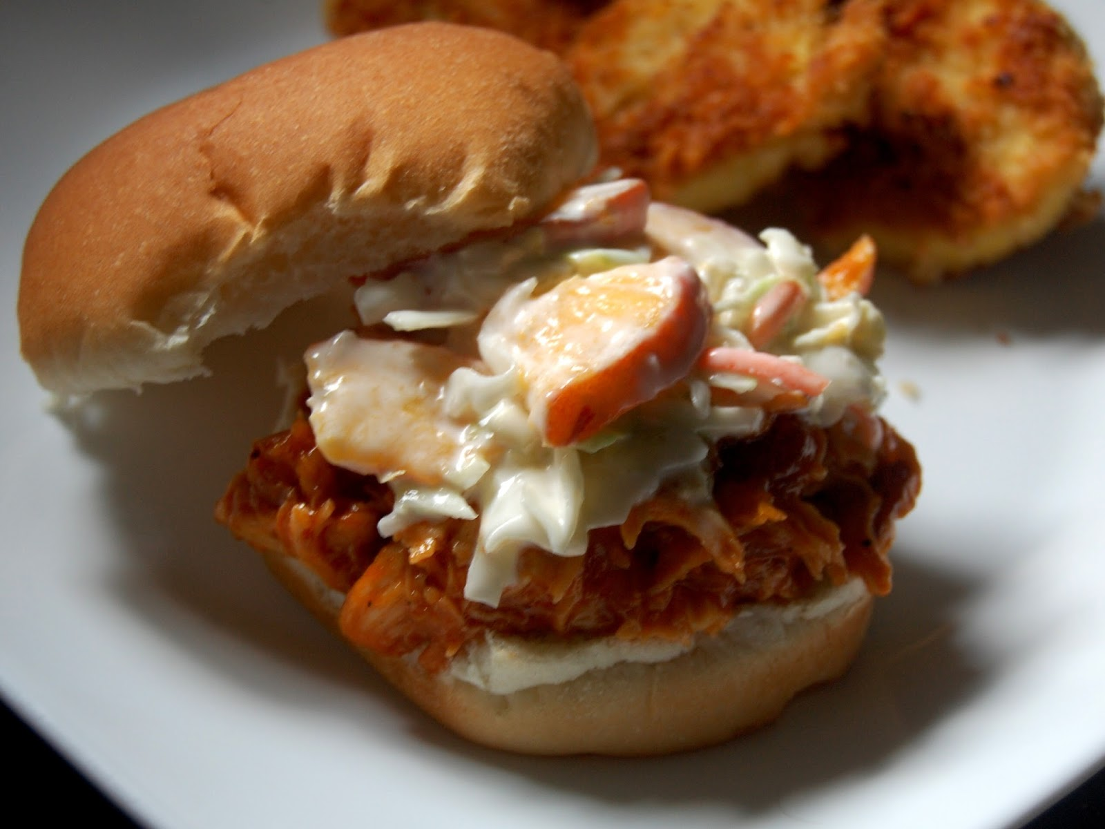 Peach BBQ Pulled Chicken Sandwiches with Peach Coleslaw