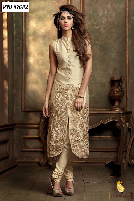 Diwali season special latest discount offer on cream chiffon anarkali salwar suit online shopping at pavitraa.in