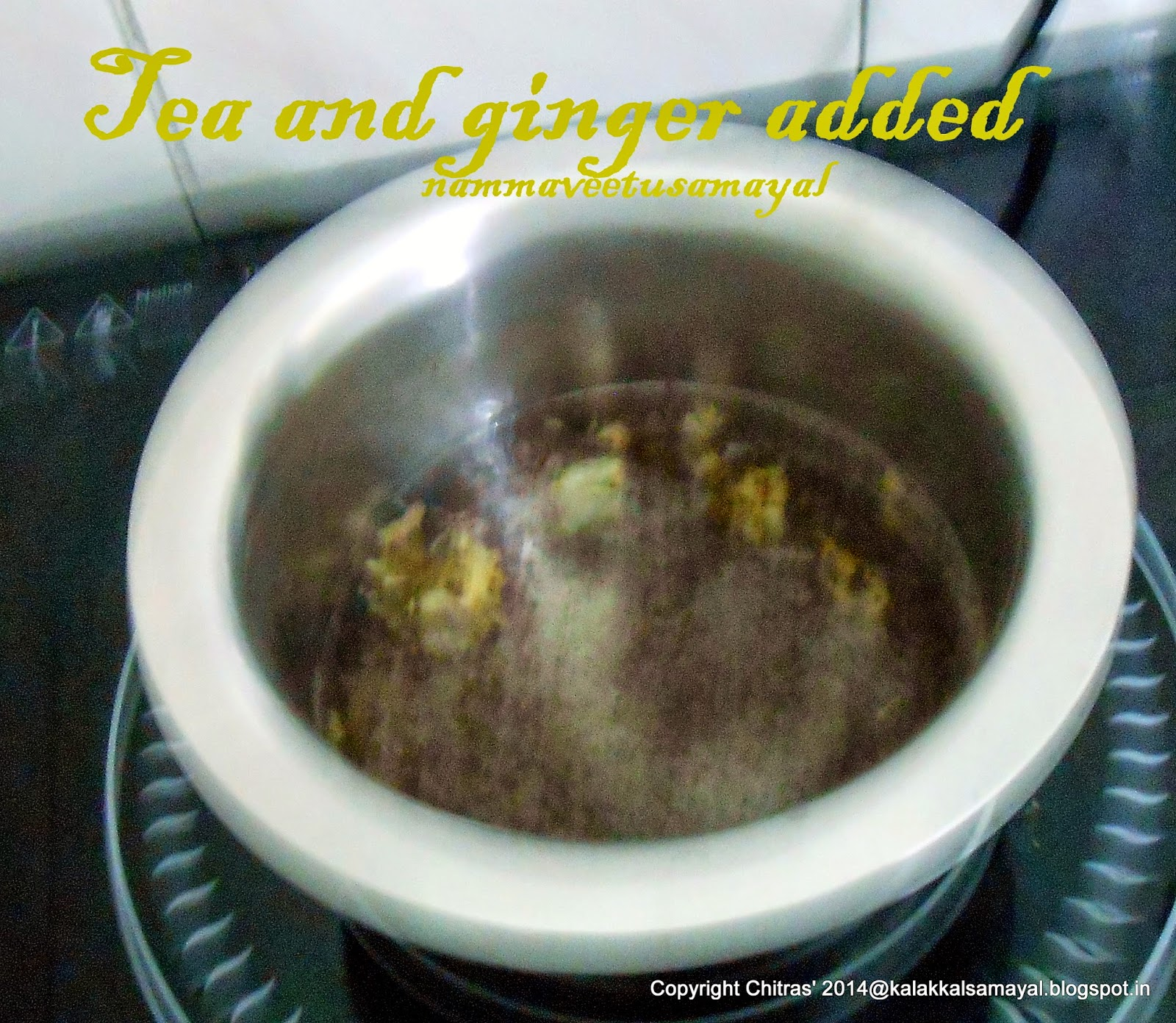 tea and ginger added to boiling water