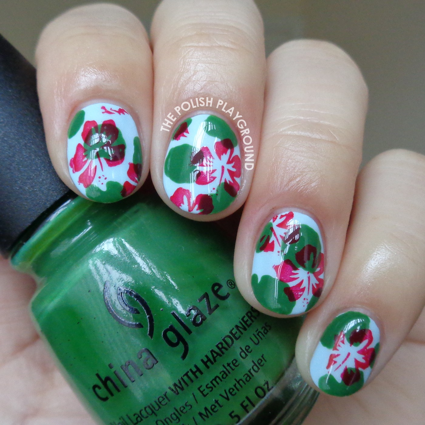 Pond Manicure with Lily Pads and Floral Stamping Nail Art