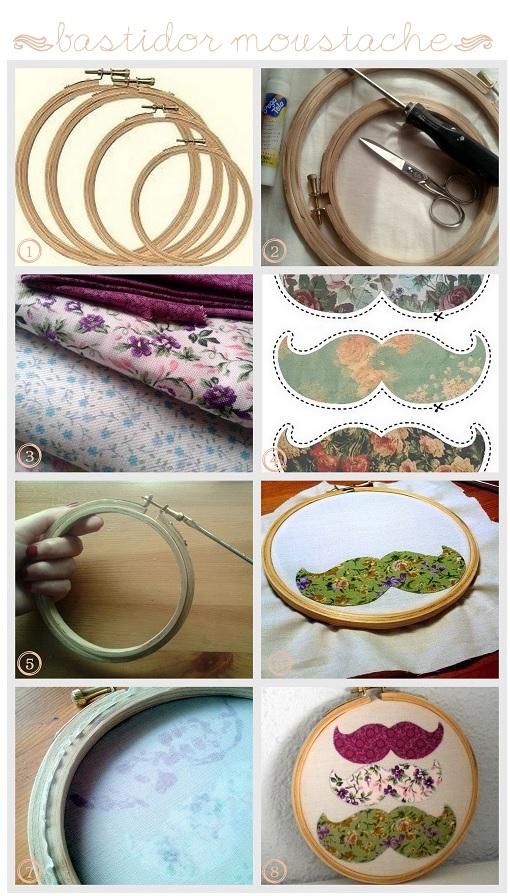 DIY, moustache embroidery hoop, bastidor, bastidores