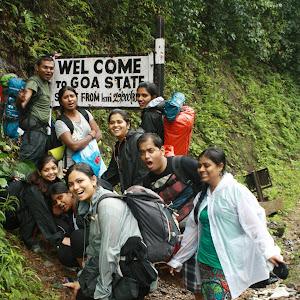 Entering Goa state, Dudhsagar water falls trekking