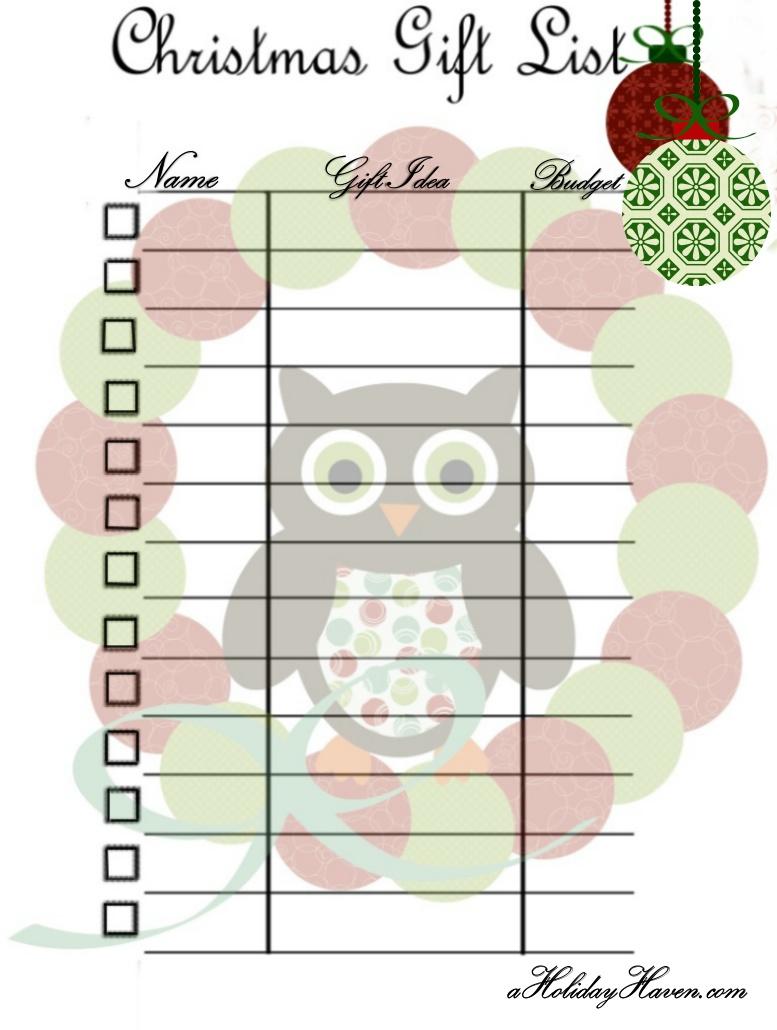 printable christmas present list