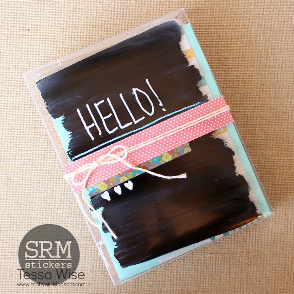 SRM Stickrs Blog - A Chalkboard Card Set by Tessa - #cards #cardset #chalkboard #markers #twine #stickers #clearstamps #janesdoodles, #giftset