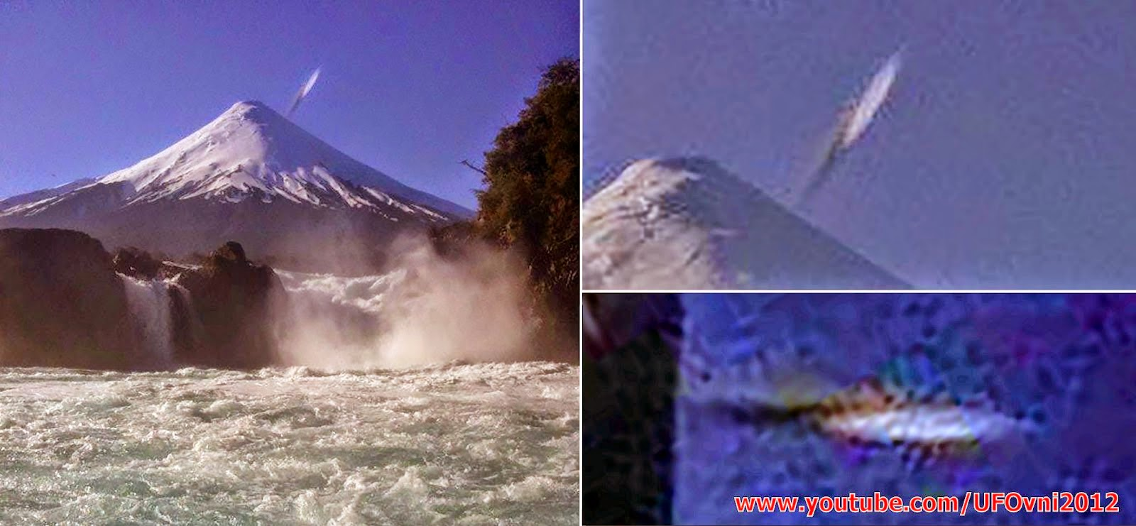 Chili : Cigare-forme semble prendre un piqué du nez directement dans le volcan Osorno, le 28 janvie