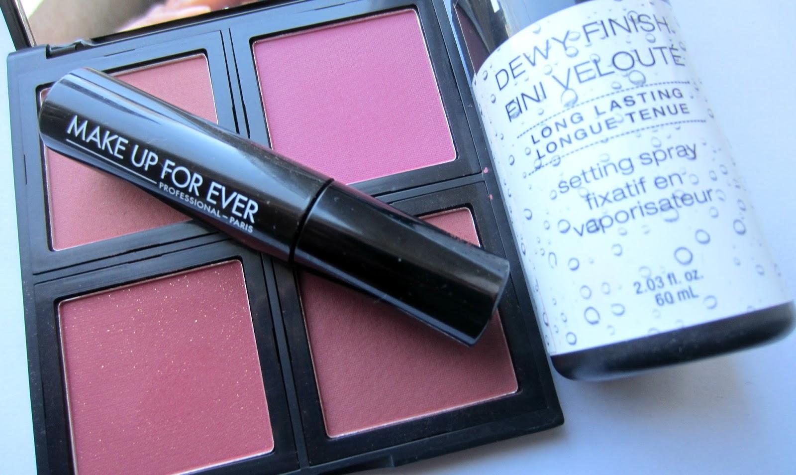 nyx dewy setting spray elf blush palette makeup forever mascara