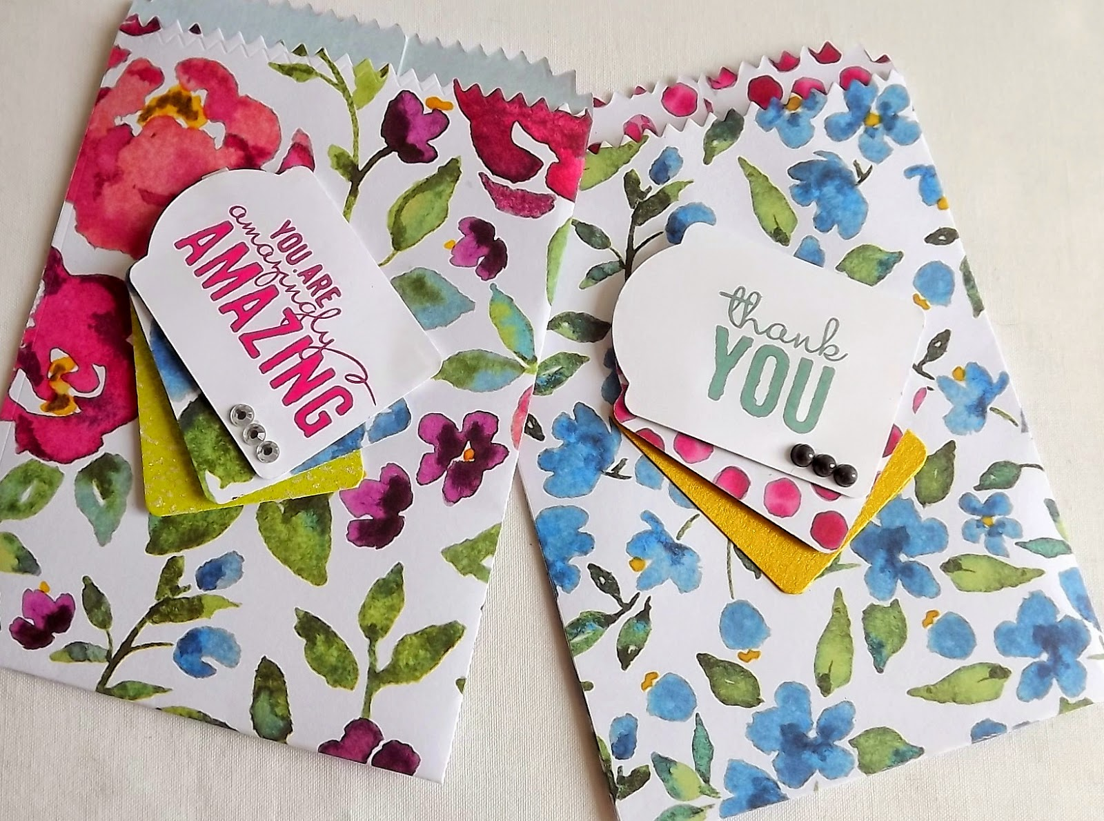 Stampin Up! Mini treat bags, painted blooms dsp