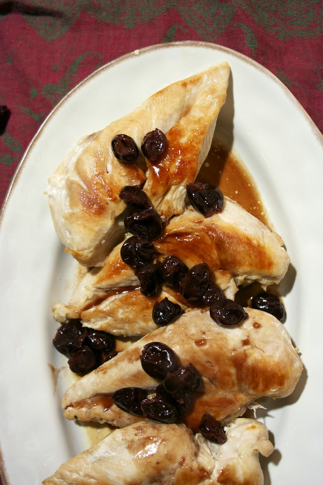 Chicken Breast w/ Dried Cherry Sauce- simplelivingeating.com