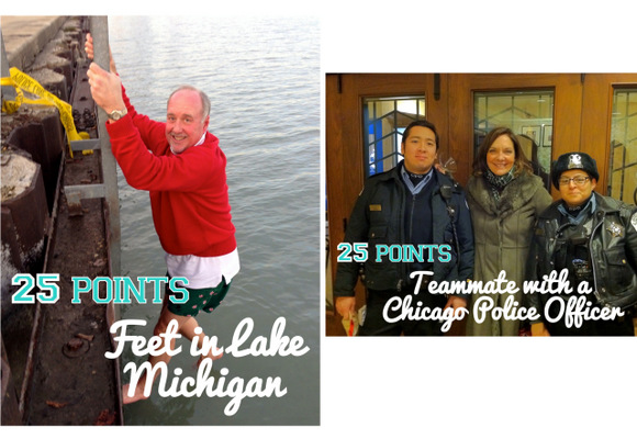 More points were given in the photo hunt to those who took pics in Lake Michigan and with cops.