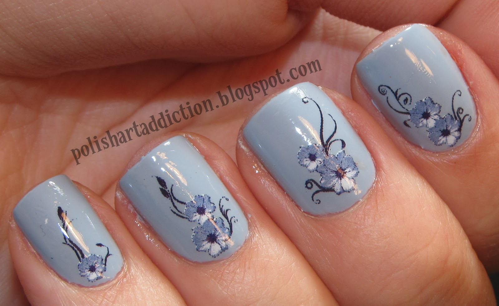 Blue Floral Water Decals