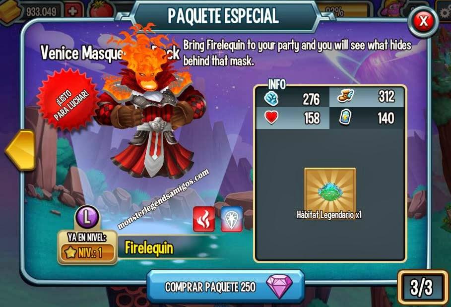 imagen de la oferta especial del monstruo firelequin de monster legends