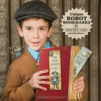 Robot Bookmark Printables by Robin Davis Studio