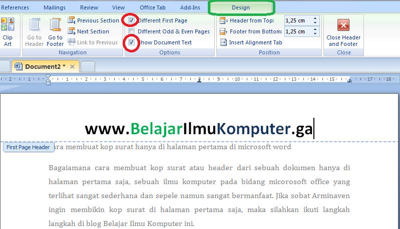 Cara Membuat Kop Surat Hanya di Halaman Pertama di Microsoft Word