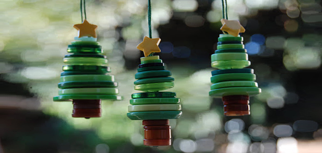 manualidades de navidad arbolitos decorativos botones