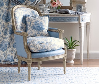 Chateau de lille blue and white striped dhurries for French blue bedroom design