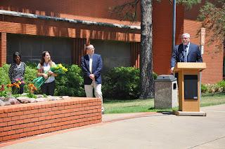 Dr. Phillip Lyons speaks at the Sundial Ceremony.