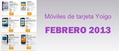 Precios de todos los móviles de tarjeta de Yoigo en febrero 2013
