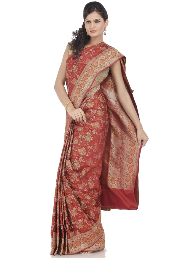 Cardinal Red Satin Banarasi Saree
