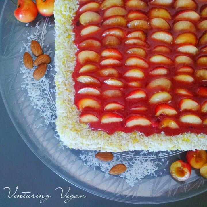 venturing vegan summer sunrise cake