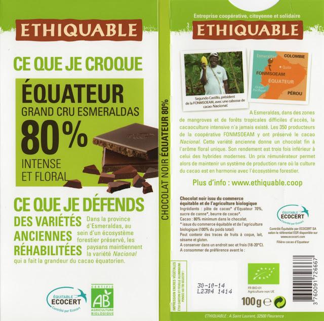 tablette de chocolat noir dégustation ethiquable equateur grand cru esmeraldas 80